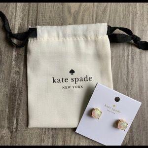 kate spade Jewelry - Kate Spade Opal Glitter Gold Earrings